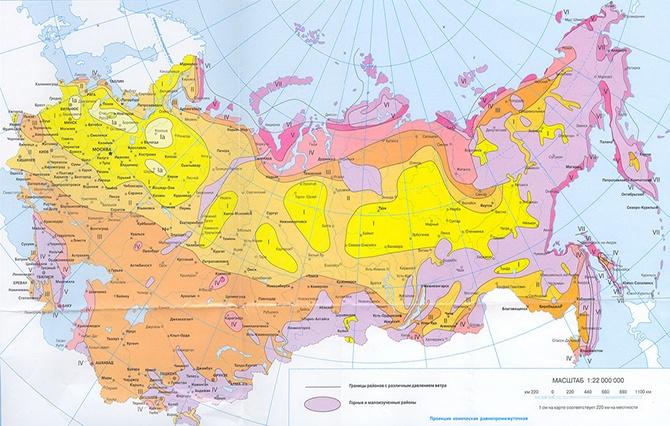 Карта определения ветровой нагрузки