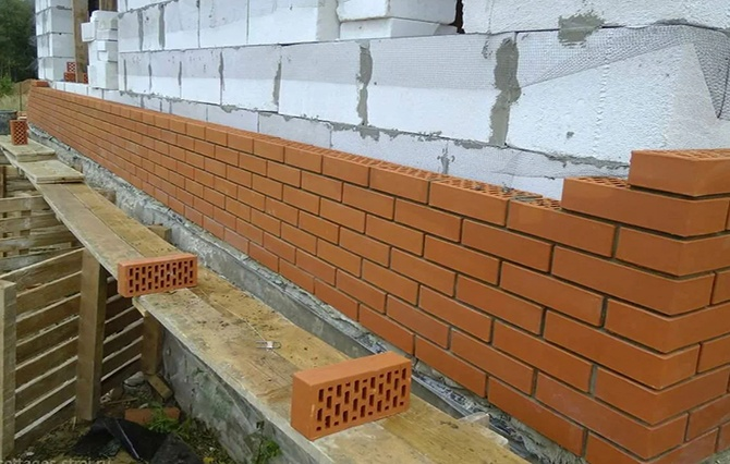 Отделка кирпичём стены из газобетона